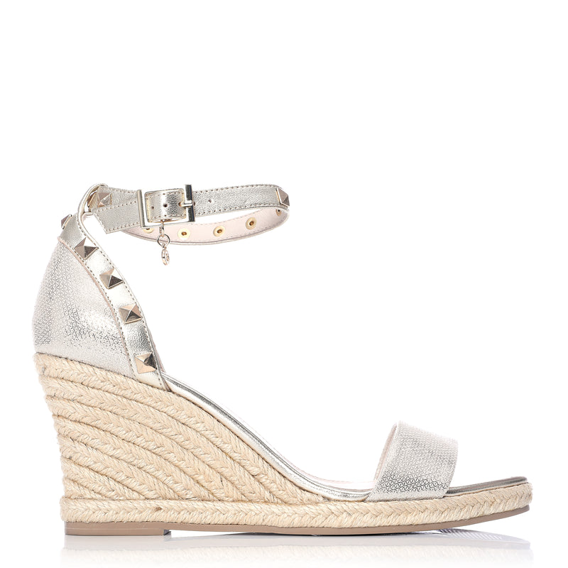 Moda in Pelle Roliah Gold Metallic Leather Studded Ankle Strap Wedge