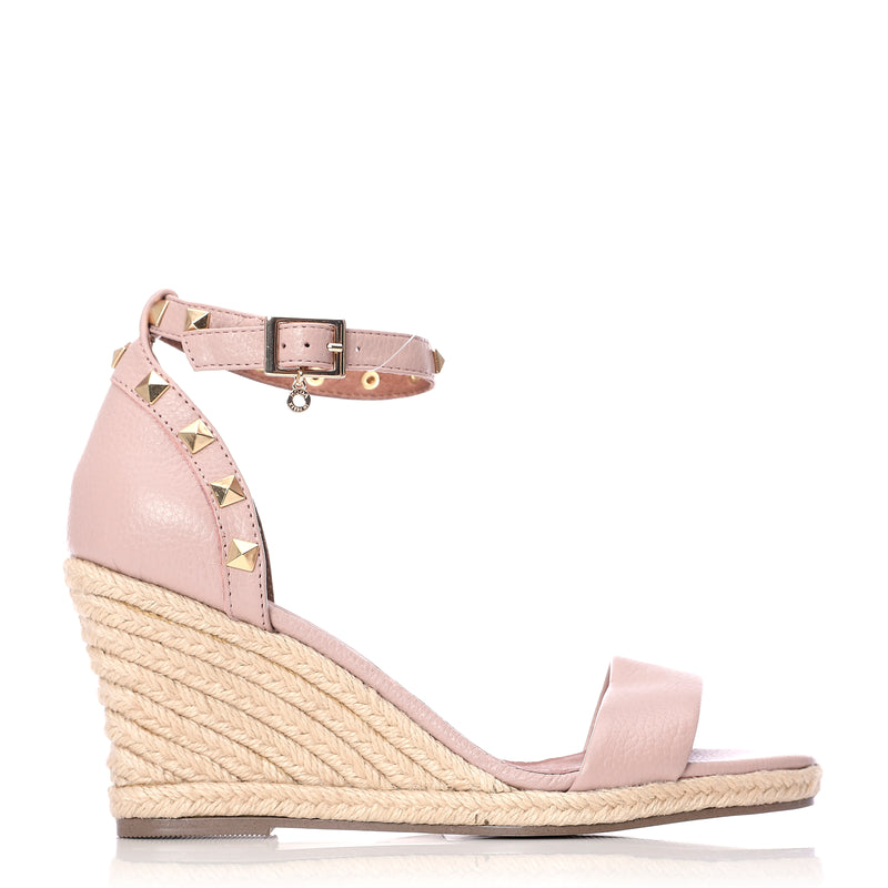 Moda in Pelle Roliah Nude Metallic Leather Studded Ankle Strap Wedge