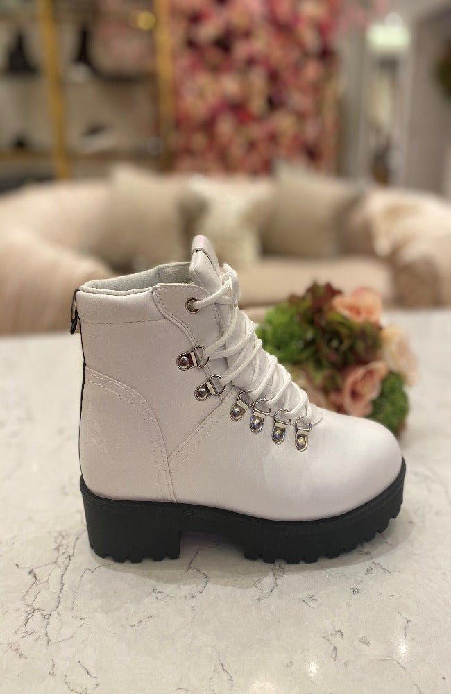 White Alpine Boot with Black Sole