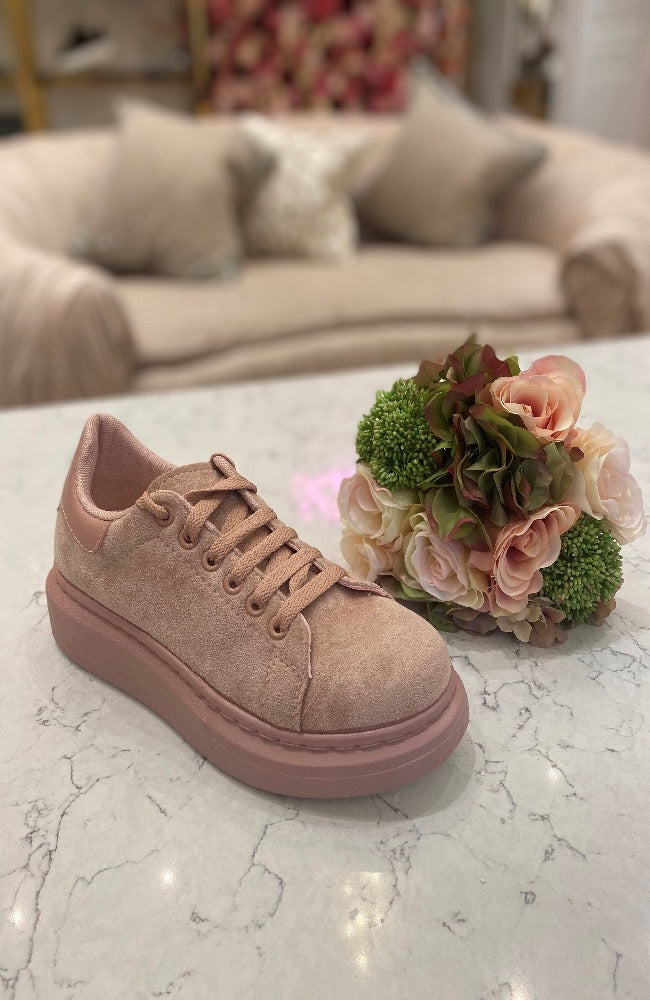 Blush Suede Trainer