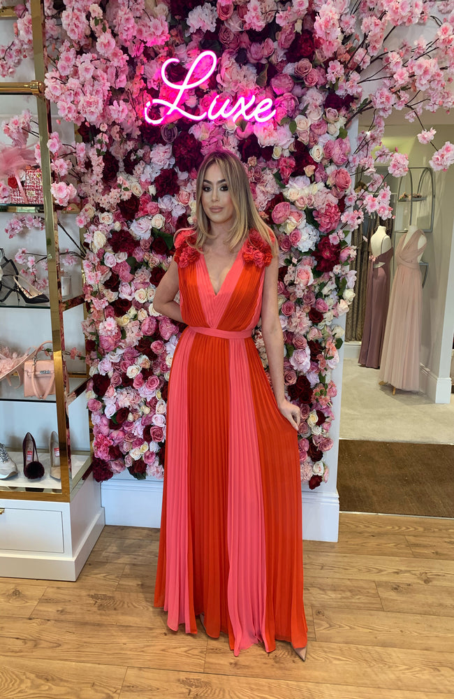 Forever Unique Red and Pink Pleated Maxi Dress