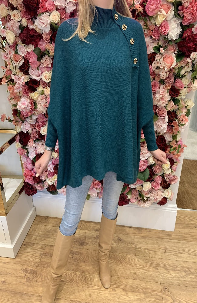 Exquiss Teal Cape Jumper with Button Detail
