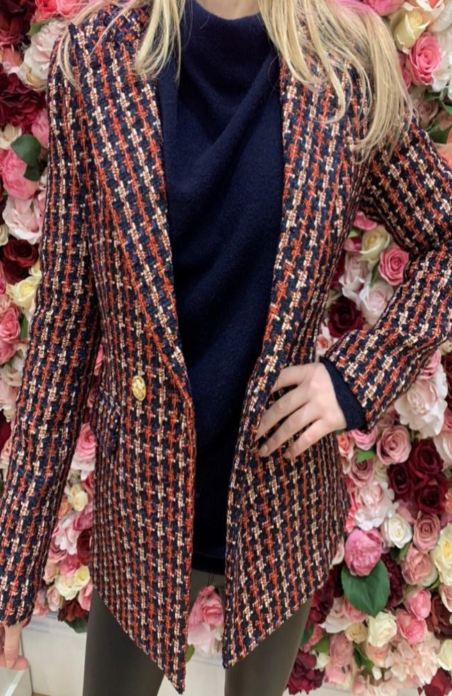 Jus De Pom Navy, Red and Gold Tweed Blazer