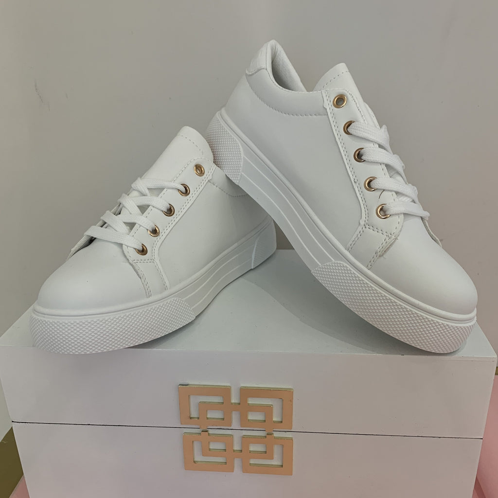 Luxe White Trainer with Gold Studded Detail