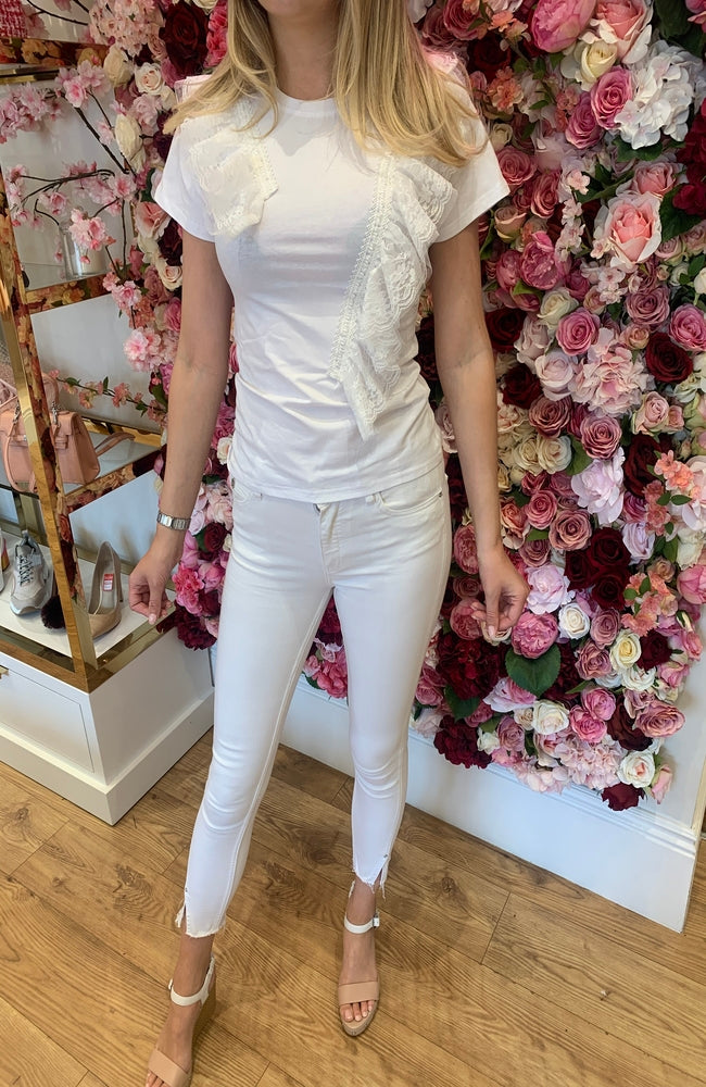 White T-Shirt with Fabric Detail