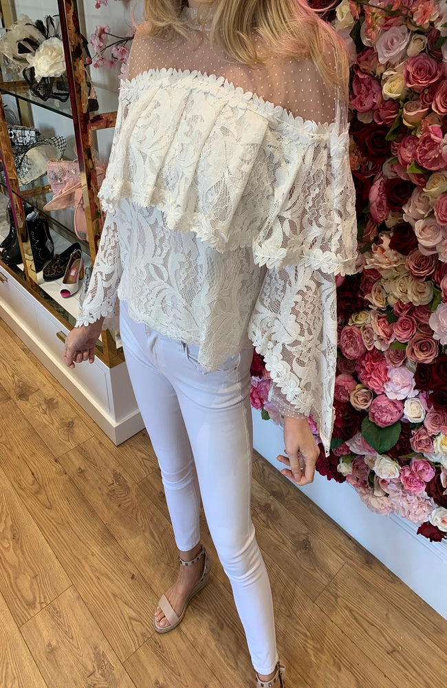 Lace and Mesh Tiered Turtle Neck Blouse
