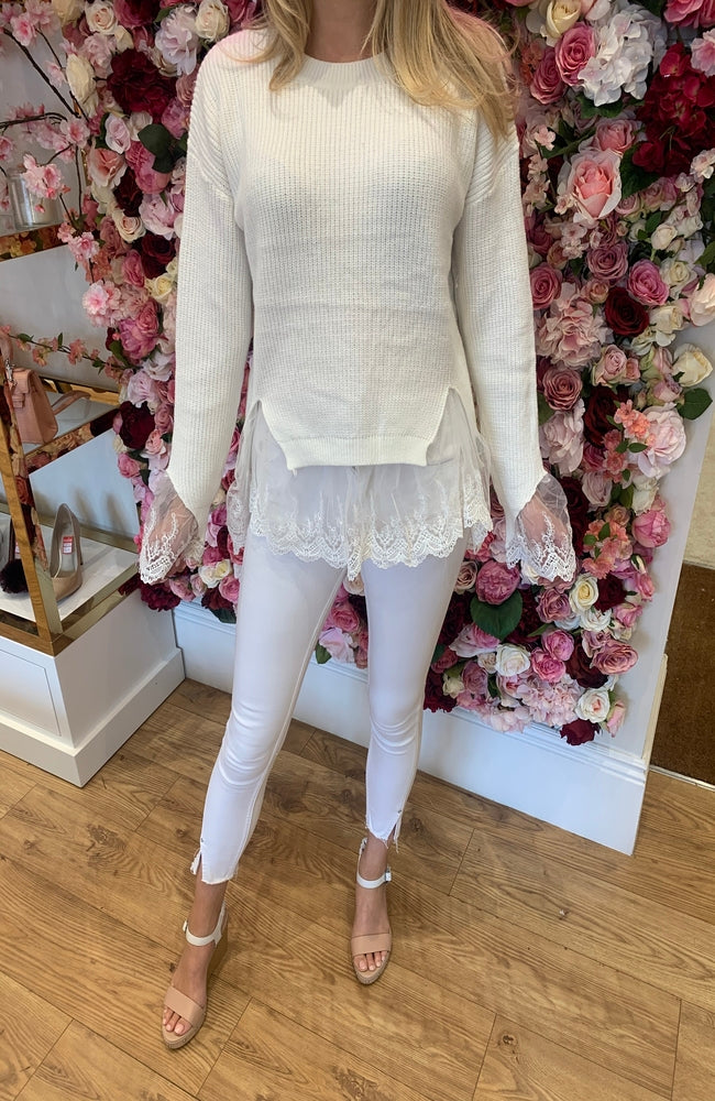 Cream Knit with Lace Detail