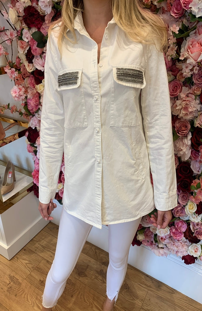 White Military Shirt with Embellished Pocket Detail