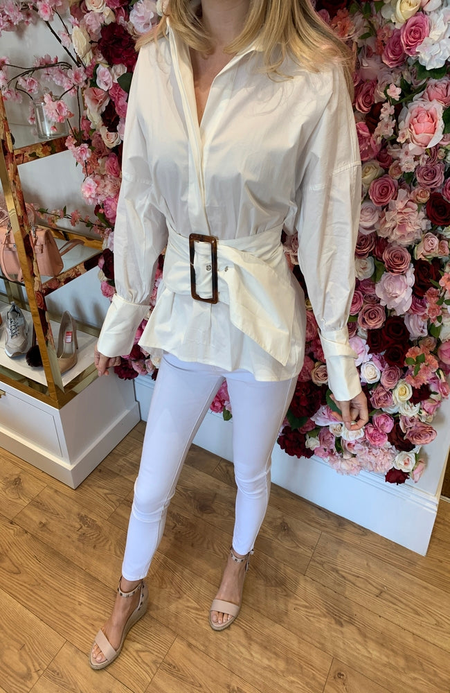 CMEO Belted Puff Sleeve White Shirt