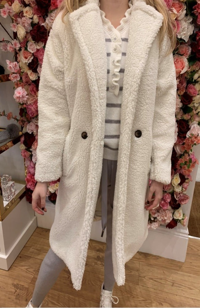 IVIVI White Long Teddy Coat