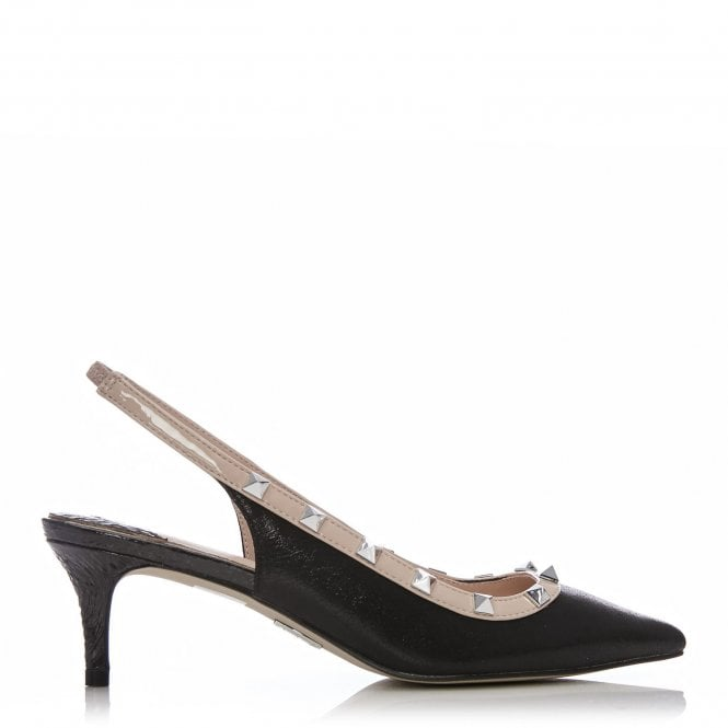 Moda in Pelle Yazzie Black and Nude Studded Low Heel