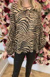 IVIVI Black and Tan Zebra Print Blouse