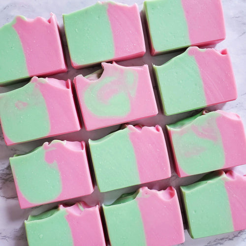 Pink Grapefruit and Lime is half hot pink and half lime green citrusy bar of soap.