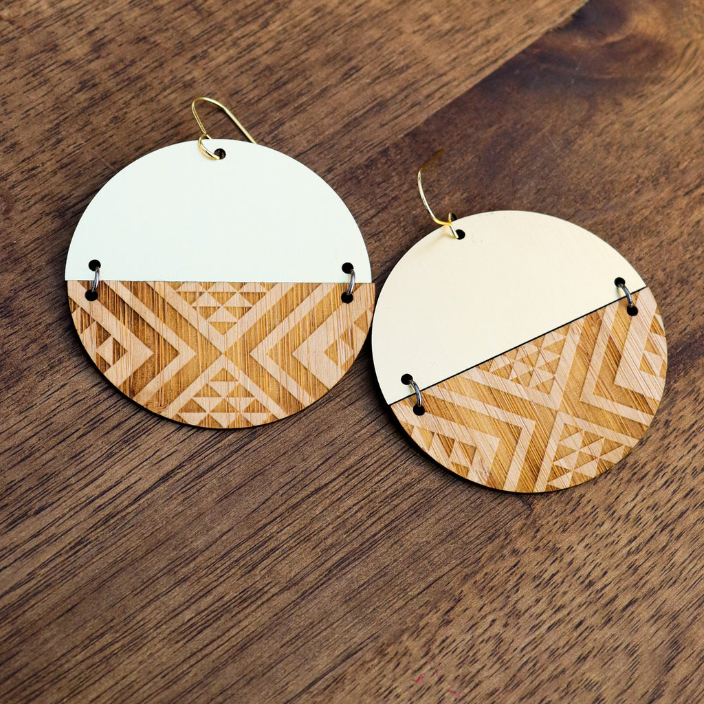 Earrings Bamboo Gold, Split tāniko II