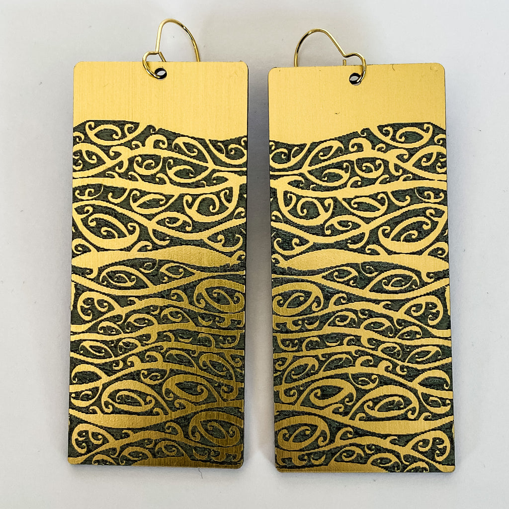Earrings Gold, Papatūānuku - Nga Mara