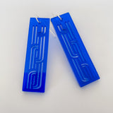 Earrings Blue, Whakarare rectangle