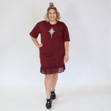 . Frill dress, Burgundy - Matariki print