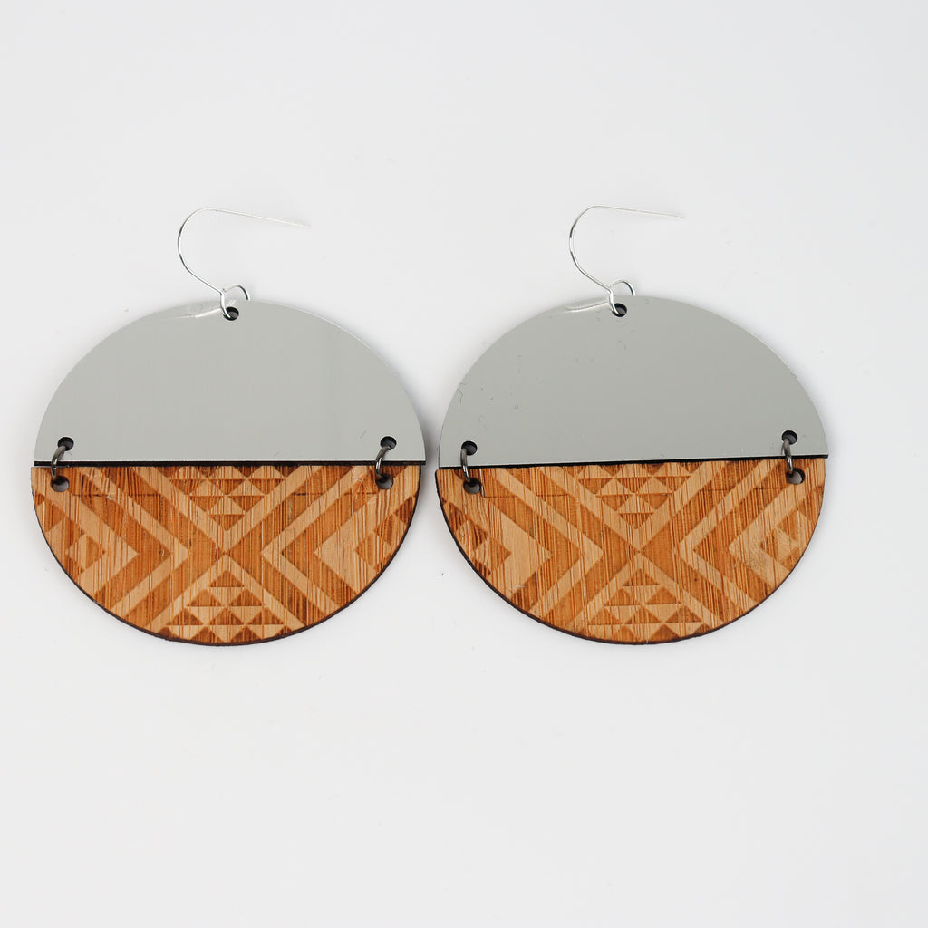 Earrings Bamboo Silver, Split tāniko II