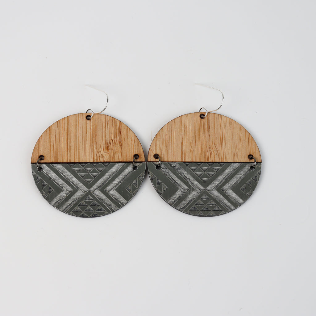 Earrings Bamboo Silver, Split tāniko I