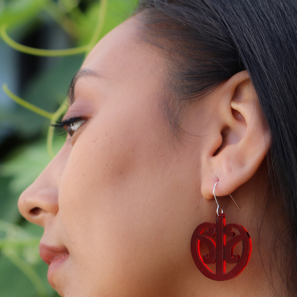 Earrings Red Tint, Mangopare