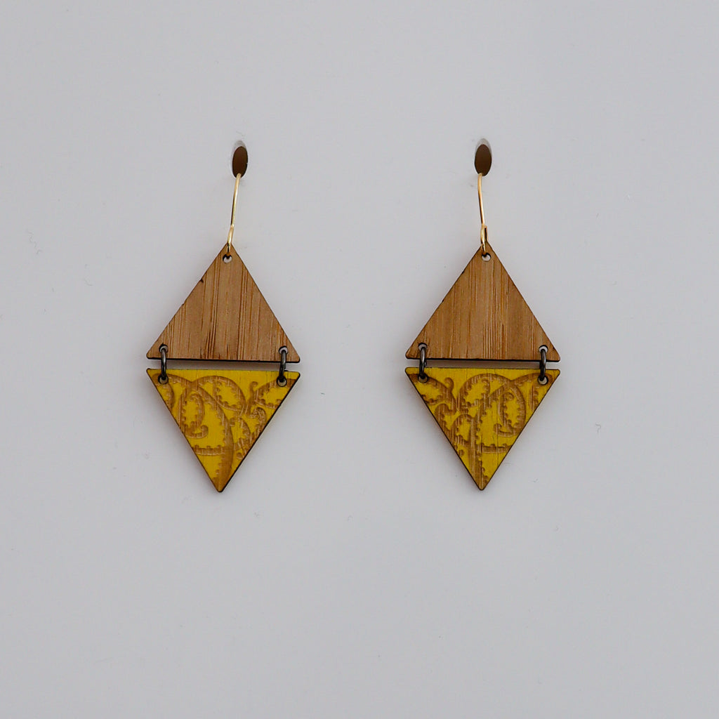 Earrings Bamboo+Yellow, Pītau