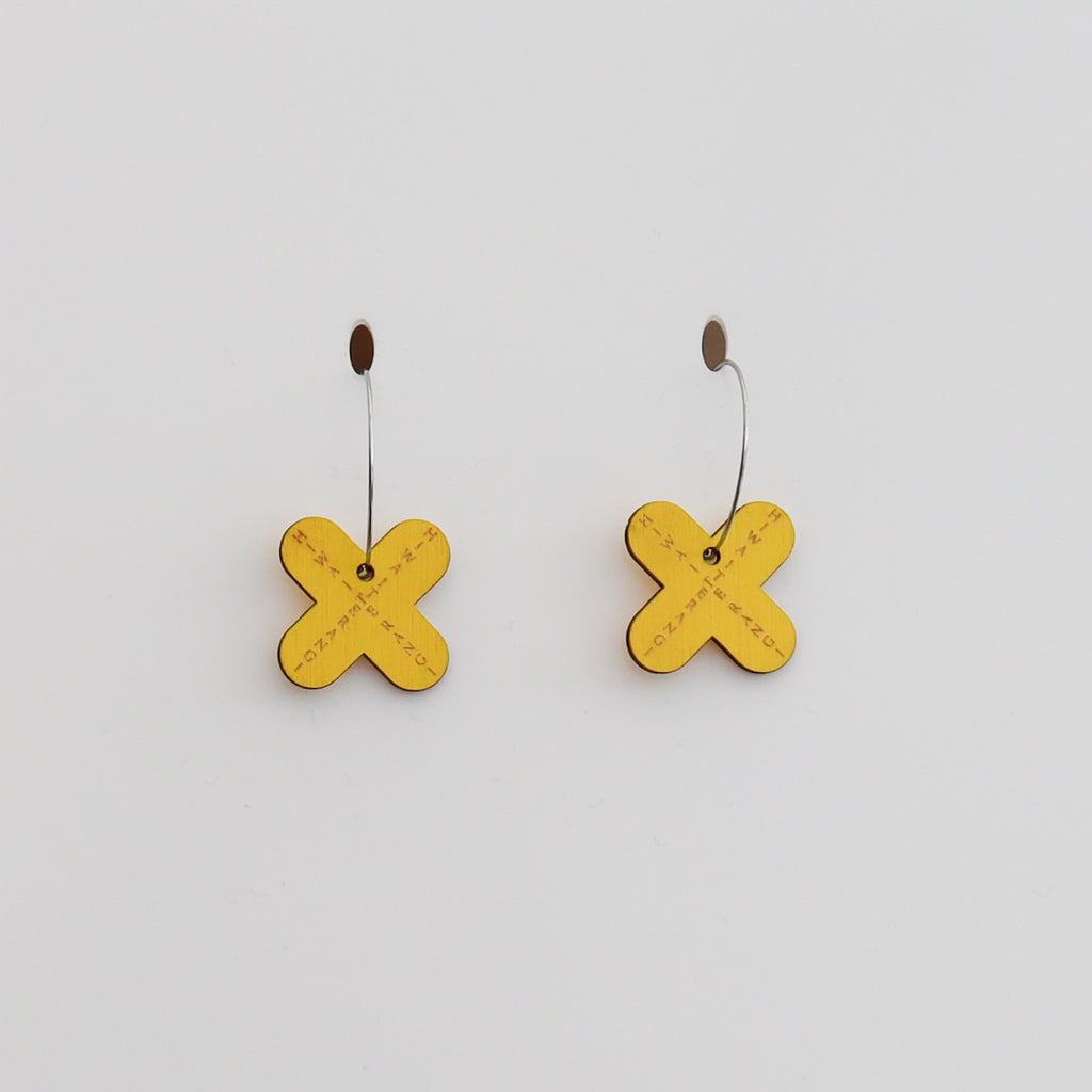 Earrings Bamboo + Yellow, Hiwa i te Rangi