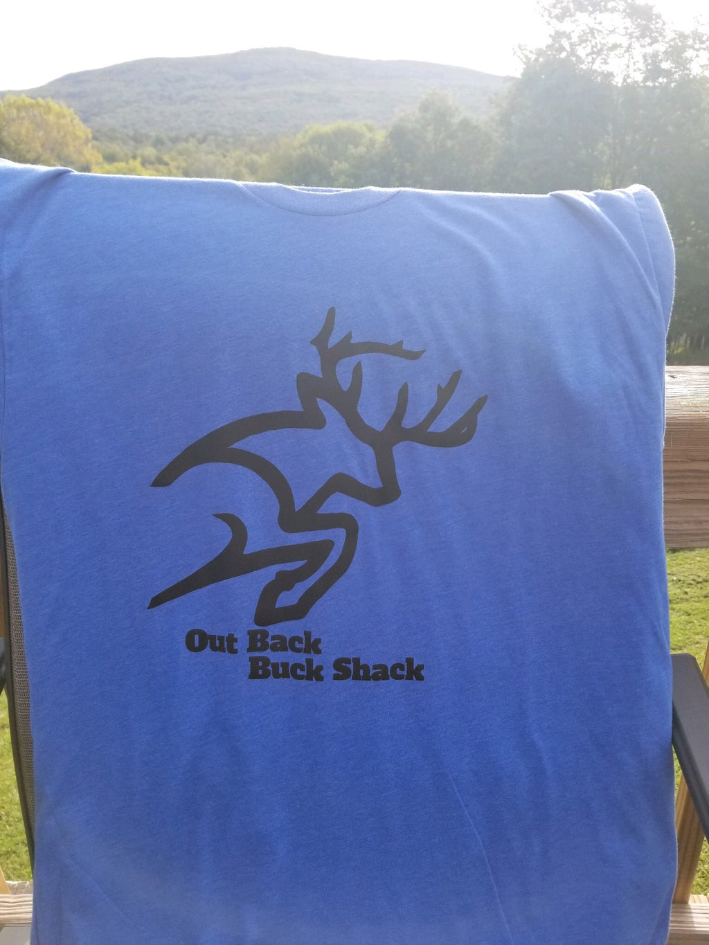 Black Buck Logo Made in the USA Heather Blue T-Shirt