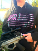 Pink/Camo Arrow Flag Made in USA Hoodie