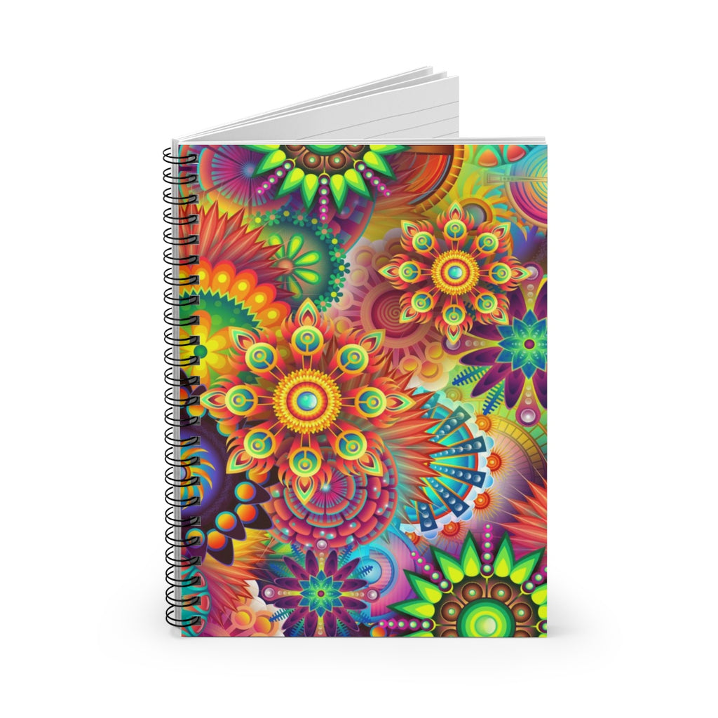 Colorful Fractal Flowers- Spiral Notebook: Ruled Line
