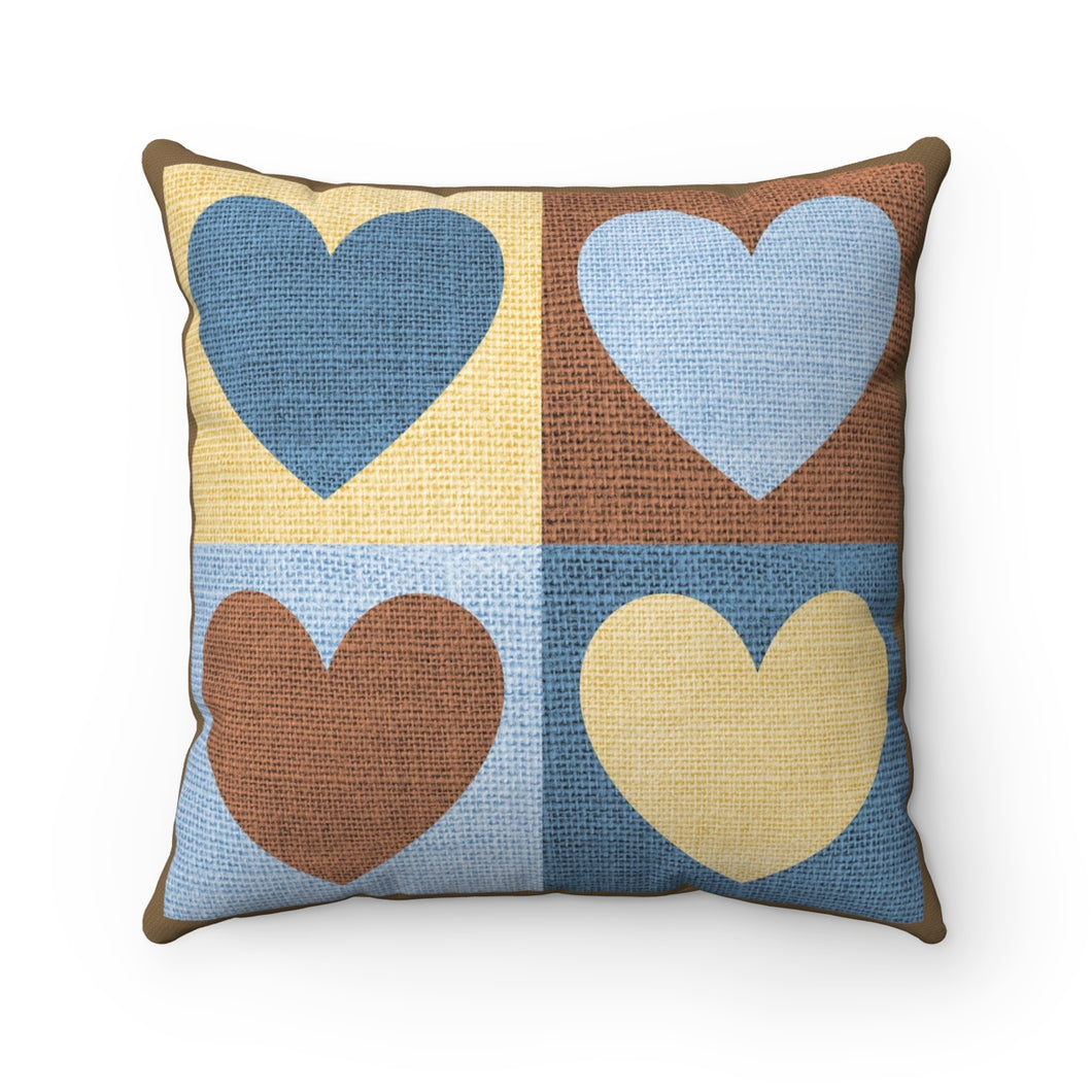 VINTAGE HEART SQUARES- Square Cozy Pillow