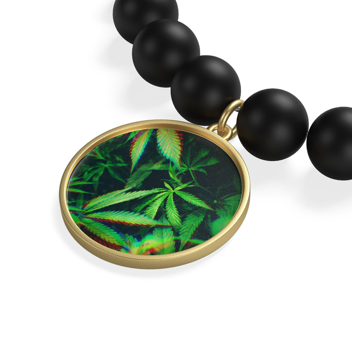 Trippy leaves-Matte Onyx Bracelet