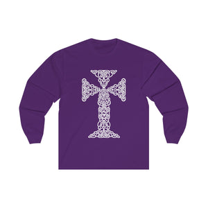 CELTIC CHRISTIAN CROSS- Soft Cotton Long Sleeve Tee