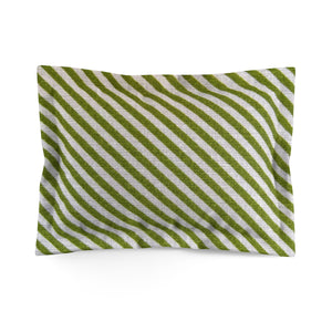 OLIVE STRIPES- Microfiber Pillow Cover