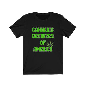 CANNABIS GROWERS OF AMERICA-(BLACK) Jersey Short Sleeve Tee