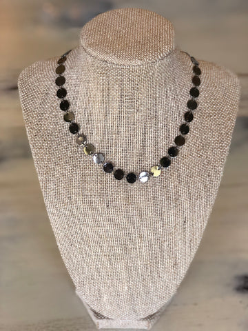 Gunmetal discs necklace