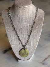 Molly #2 necklace-antique gold pendant with iridescent beads
