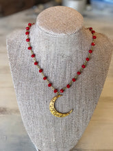 The Moon lite Necklace - gold wrapped rosary chain with gold moon pendant
