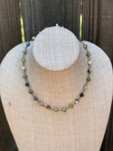 The Brooke necklace - Studded star agate semi precious stones wrapped in gunmetal rosary chain