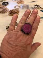 Adjustable druzy agate rings