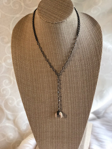 The Leslie Necklace- gunmetal curb chain necklace- rosary glass beads with a double horn pendant