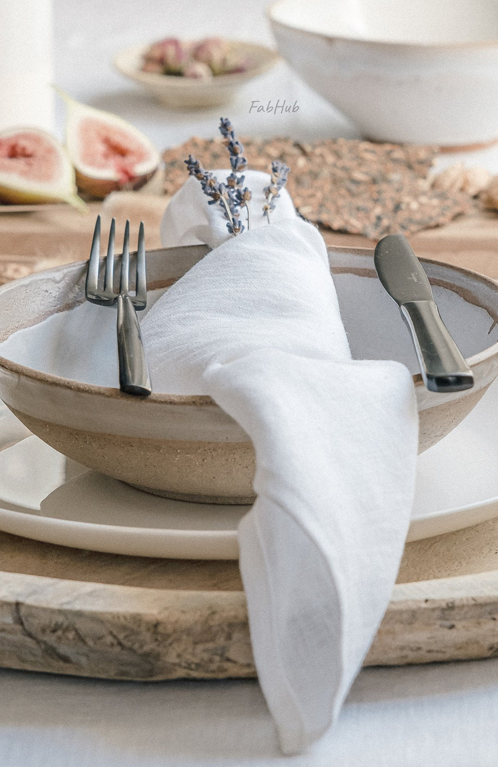 White Linen Tablecloth Set - Home Decor | Shop Baskets, Ceramics, Pillows, Rugs & Wall Hangs online