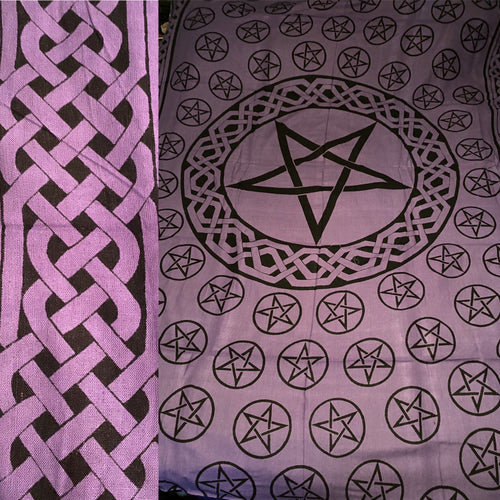 Purple and Black Pentacles Tapestry