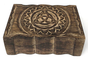 Hand Carved Wood Box with a Triquetra