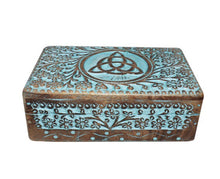 Load image into Gallery viewer, Hand Carved Triquetra Storage box. Blue colored