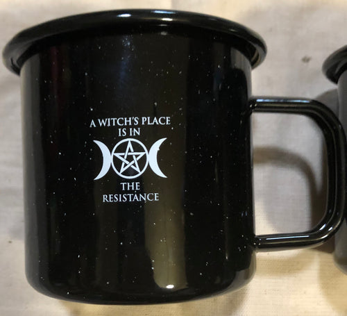 Witches Resistance Enameled Metal Coffee Cup