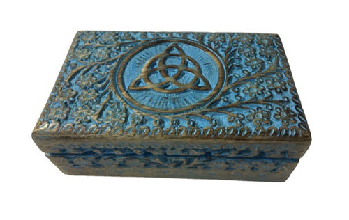 Hand Carved Triquetra Storage box. Green colored