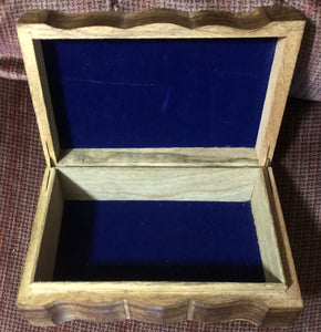 Hand Carved Triquetra Storage box. Blue colored