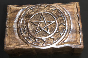 Hand Carved Wood Box with Pentacle