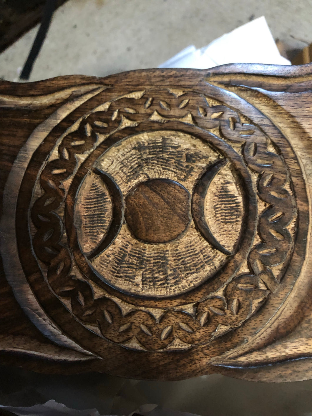 Hand carved wooden box with triple goddess symbol