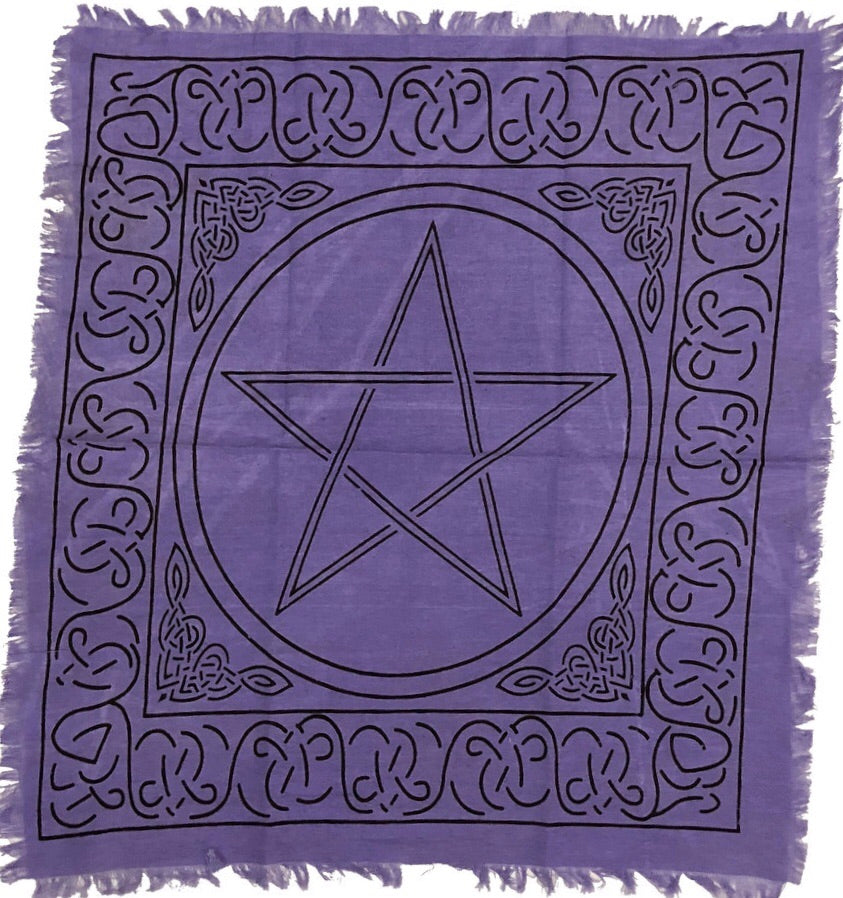 "24"" x 24"" Purple Pentacle Altar Cloth"